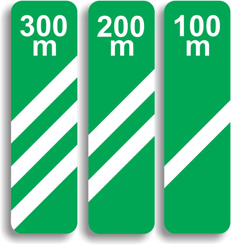 Se monteaza la 300 m (primul panou), 200 m (al doilea panou) si la 100 m (al treilea panou) de urmatoare bifurcatie de pe o autostrada. Fiecare linie alba inseamna 100 m.