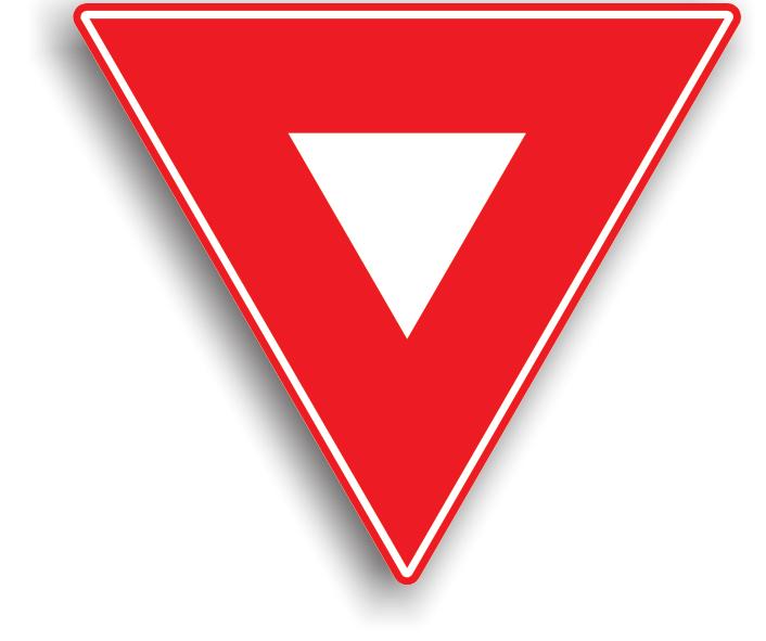 Se amplaseaza pe drumul public fara prioritate, la intersectia acestuia cu un drum public prioritar. La intalnirea acestui indicator, conducatorul auto este obligat sa reduca viteza si sa se asigure ca pe drumul prioritar nu circula autovehicule, si abia apoi poate sa patrunda in intersectie. Daca pe drumul prioritar circula alte autovehicule, conducatorul auto este obligat sa opreasca pentru a le acorda prioritate.