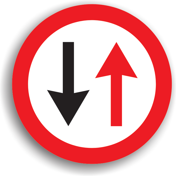 """Se monteaza pe sectoarele de drum ingustat unde nu au loc sa circule doua vehicule unul pe langa celalalt, fiind precedat de indicatorul """"Drum ingustat"""". La intalnirea acestui indicator, conducatorul autovehiculului pierde prioritatea fata de toate autovehiculele care circula din sens opus. Acest indicator poate fi insotit si de un panou aditional pe care sunt precizate categoriile de autovehicule carora li se adreseaza acest indicator."""