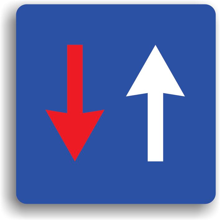 """Montat pe sectoarele de drum ingustat unde nu au loc sa circule doua vehicule unul pe langa celalalt indicatorul din imagine este precedat de indicatorul """"Drum ingustat"""". La intalnirea acestui indicator, conducatorul autovehiculului are prioritate fata de toate autovehiculele care circula din sens opus."""