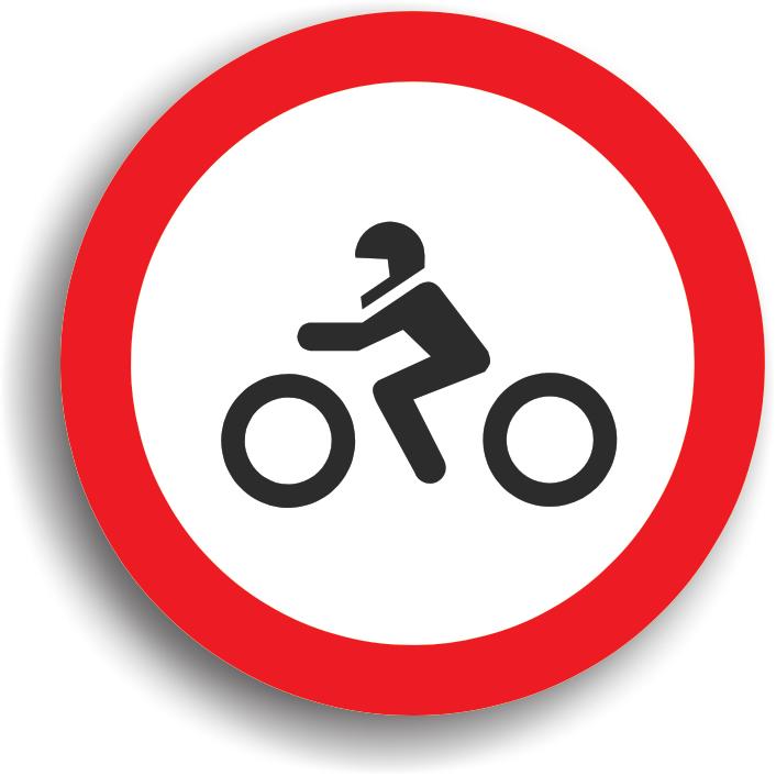 Se amplaseaza la intrarea pe drumurile publice pe care accesul motocicletelor este interzis.