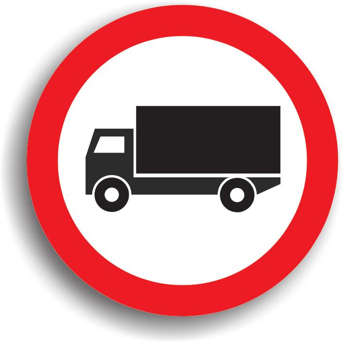 Se instaleaza la inceputul drumurilor publice pe care accesul vehiculelor destinate transportului de marfuri este interzis. Acest indicator poate fi insotit si de un panou aditional pe care este inscrisa masa maxima autorizata. Vehiculele destinate transportului de marfuri care nu depasesc aceasta masa au voie sa circule pe sectorul de drum respectiv.