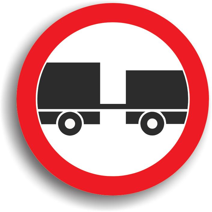 Se instaleaza la intrarea pe drumurile publice pe care accesul autovehiculelor cu remorca, cu exceptia celor cu semiremorca sau cu remorca cu o osie, este interzis.