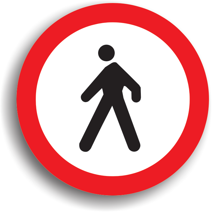 Intezice accesul pietonilor pe sectorul de drum public pe care este amplasat. Daca indicatorul se afla numai pe una dintre partile drumului, atunci circulatia pietonilor este interzisa numai pe acea parte. Pentru a se interzice accesul pietonilor pe ambele sensuri, se vor instala doua indicatoare, cate unul pe fiecare parte.