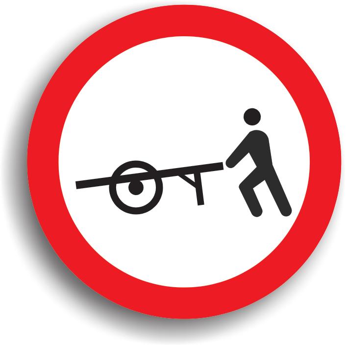 Se amplaseaza la intrarea pe drumurile publice pe care accesul vehiculelor impinse sau trase cu mana este interzis.