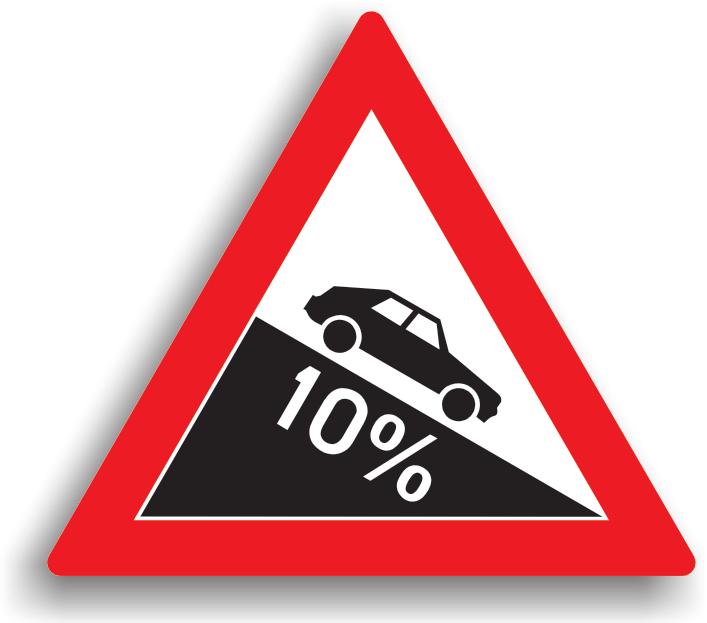 Se amplaseaza la 100-200 m de inceputul sectorului de drum, cand panta depaseste 7%. Conducatorul auto nu este obligat sa reduca viteza, dar nu are voie sa stationeze pe toata lungimea pantei. Daca, in varful pantei, vizibilitatea este redusa sub 50 m, toate manevrele sunt interzise. Daca drumul nu este suficient de lat pentru a permite trecerea a doua vehicule unul pe langa celalalt, are prioritate cel care urca fata de cel care coboara.