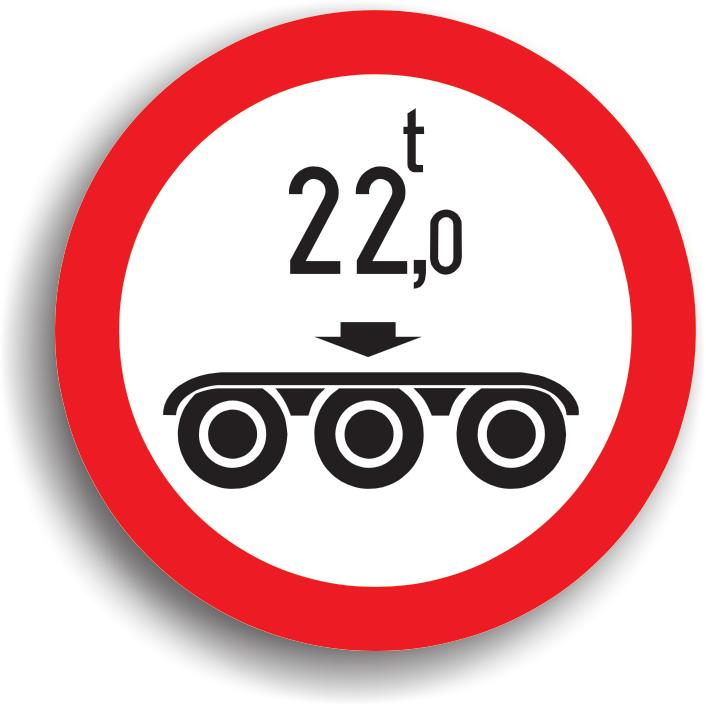 Se amplaseaza pe sectorul de drum pe care este interzis accesul vehiculelor cu o masa pe osia tripla mai mare decat cea inscriptionata pe panou.