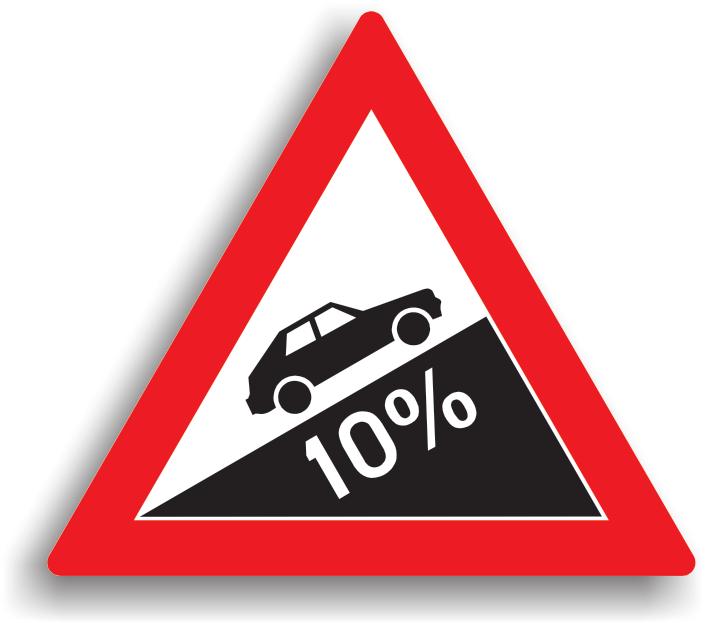 Se instaleaza la 100-200 m de inceputul sectorului de drum, cand panta depaseste 7%. Conducatorul auto nu este obligat sa reduca viteza, dar toate manevrele sunt interzise. Daca drumul nu este suficient de lat pentru a permite trecerea a doua vehicule unul pe langa celalalt, avand prioritate cel care urca fata de cel care coboara.