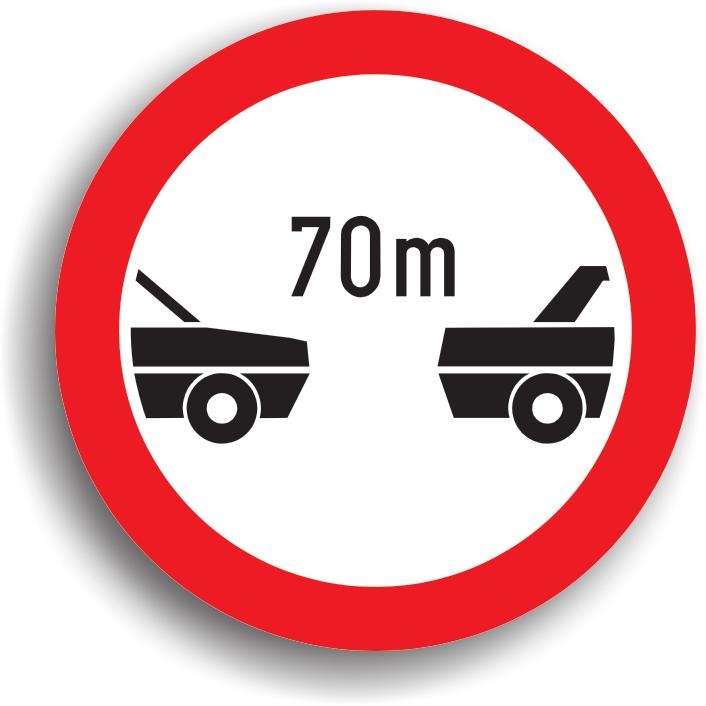 Se instaleaza pe sectorul de drum unde trebuie pastrata o distanta minima intre autovehicule. Poate fi insotit de un panou aditional pe care este inscrisa lungimea sectorului de drum pe care se impune restrictia.
