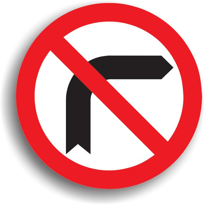 Se afla instalat inaintea intersectiei in care se interzice virajul la dreapta, deoarece pe drumul respectiv circulatia se desfasoara intr-un singur sens sau intrucat executarea virajului ar pune in pericol ceilalti participanti la trafic. Zona de actiune a indicatorului se termina dupa prima intersectie.