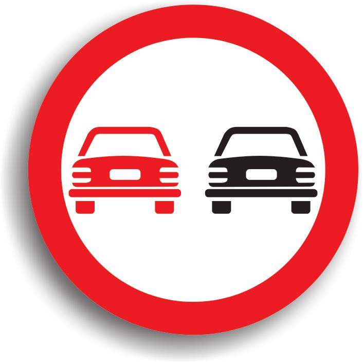 """La intalnirea acestui indicator depasirea autovehiculelor, cu exceptia motocicletelor fara atas, este interzisa. Conducatorul auto care intalneste acest indicator nu are voie sa depaseasca niciun vehicul cu motor, cu exceptia motocicletelor fara atas, insa are voie sa depaseasca vehicule simple (biciclete, vehicule cu tractiune animala, vehicule impinse sau trase cu mana). Raza de actiune a indicatorului se termina la intalnirea indicatorului """"Sfarsitul interzicerii de a depasi"""" sau """"Sfarsitul tuturor restrictiilor"""", daca pe acel sector de drum a mai fost stabilita vre-o restrictie. De asemenea, zona de actiune a indicatorului mai poate fi limitata si de coltul primei intersectii pe sensul de mers (unde ii inceteaza practic actiunea). In zona sa de actiune este interzisa si oprirea (deci si stationarea, intoarcerea si mersul inapoi)."""