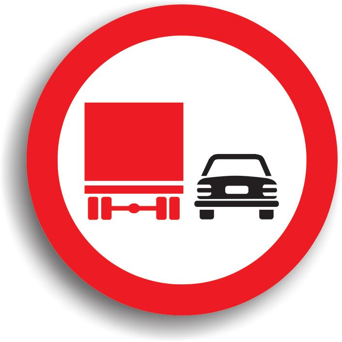 """Are rolul de a preciza inceputul sectorului de drum pe care depasirea este interzisa autovehiculelor destinate transportului de marfuri. Raza de actiune a indicatorului se termina la intalnirea indicatorului """"Sfarsitul interzicerii de a depasi"""" sau """"Sfarsitul tuturor restrictiilor """" daca pe acel sector de drum a mai fost stabilita vre-o alta restrictie. De asemenea, zona de actiune a indicatorului mai poate fi limitata si de coltul primei intersectii pe sensul de mers. Conducatorii autobuzelor, autoturismelor, motocicletelor au voie sa depaseasca. In zona sa de actiune este interzisa si oprirea (deci si stationarea, intoarcerea si mersul inapoi)."""