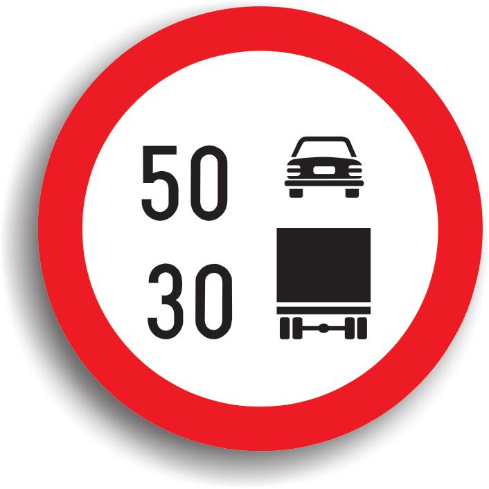 """Se amplaseaza pe sectorul de drum unde viteza de circulatie trebuie limitata pe categorii de autovehicule. Zona de actiune incepe din dreptul indicatorului si se termina la intalnirea indicatorului """"Sfarsitul tuturor restrictiilor"""". Daca acest indicator este insotit si de indicatorul de localitate, atunci limita de viteza este valabila pentru intreaga localitate."""
