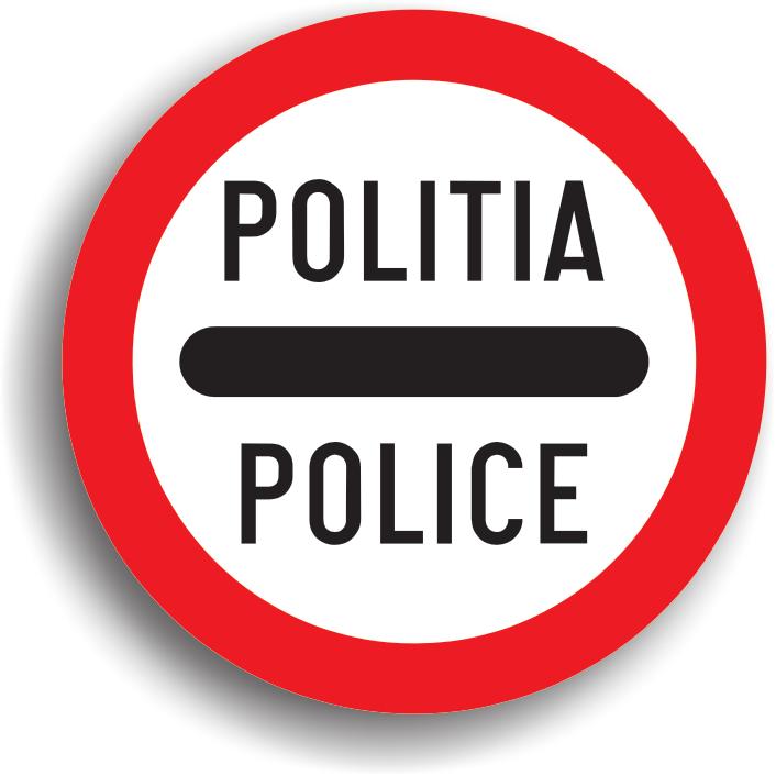 Conducatorul auto poate intalni acest indicator inaintea unei zone in care este prezenta politia.