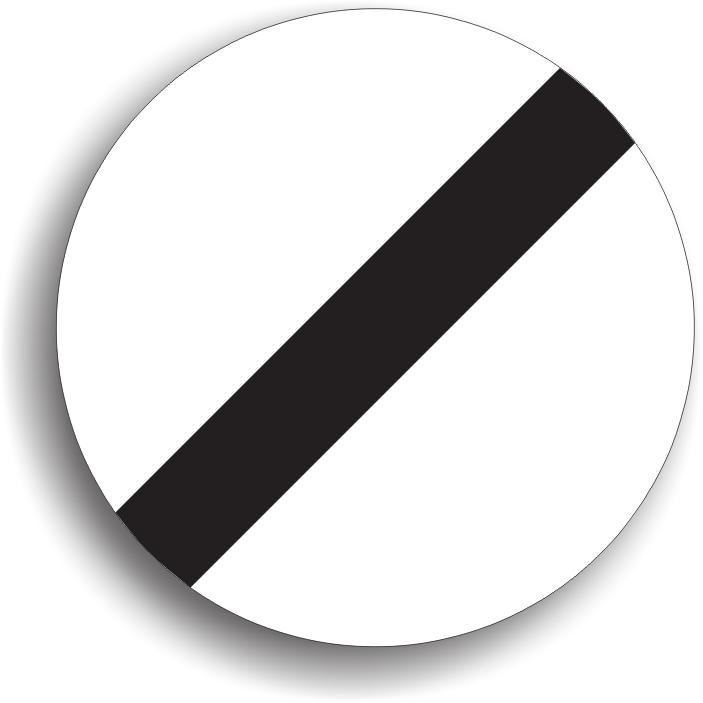 Se monteaza in zona in care se termina o restrictie. La intalnirea lui se sfarsesc doar trei restrictii: limitarea de viteza, depasirea interzisa si claxonatul interzis.