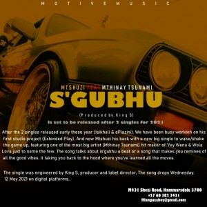 Mtshuzi - S'gubhu Feat. Mthinay Tsunam. (Produced by. King S)