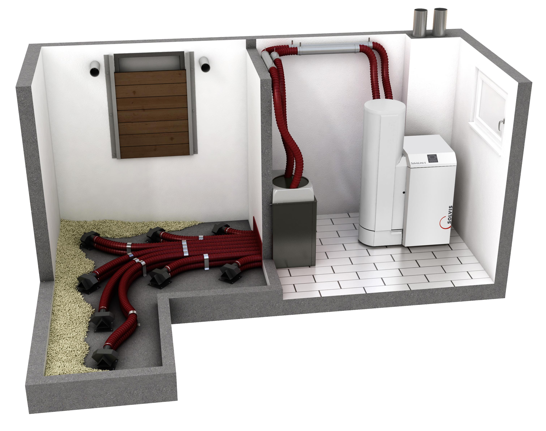 SolvisLino Pelletkessel Heizsystem Lagerraum mit Sonden
