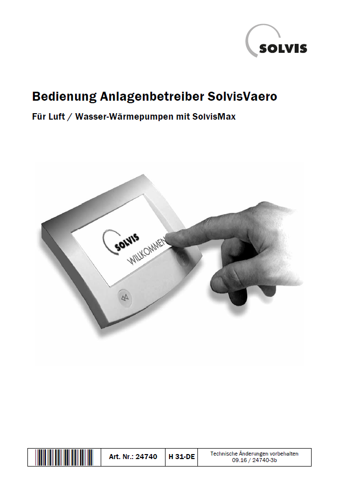 Downloads - Bedienungsanleitung SolvisVaero Wärmepumpe
