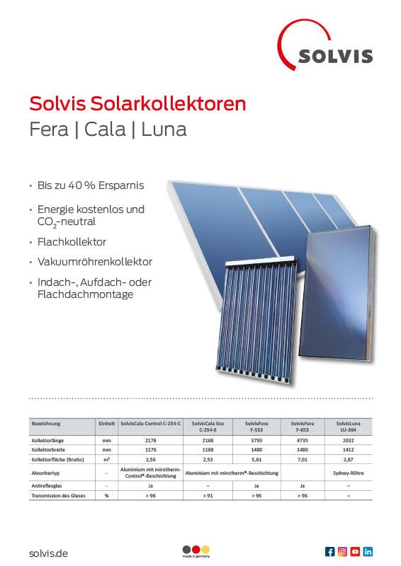 SolvisFera Großflächenkollektoren Produktblatt SolvisKollektoren