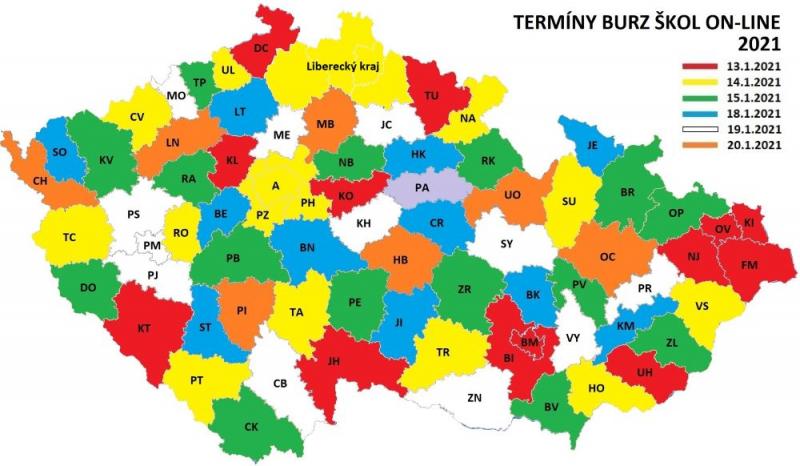 Mapa s termíny výstav po okresech