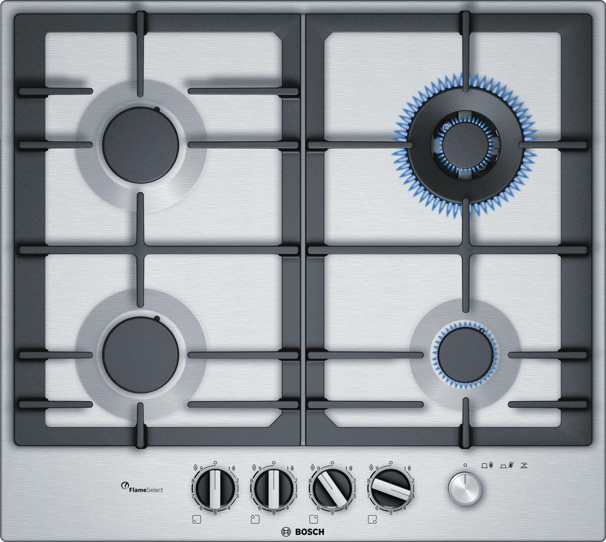 Serie | 6 Plinska ploča za kuvanje, nerđajući čelik, 60 cm
