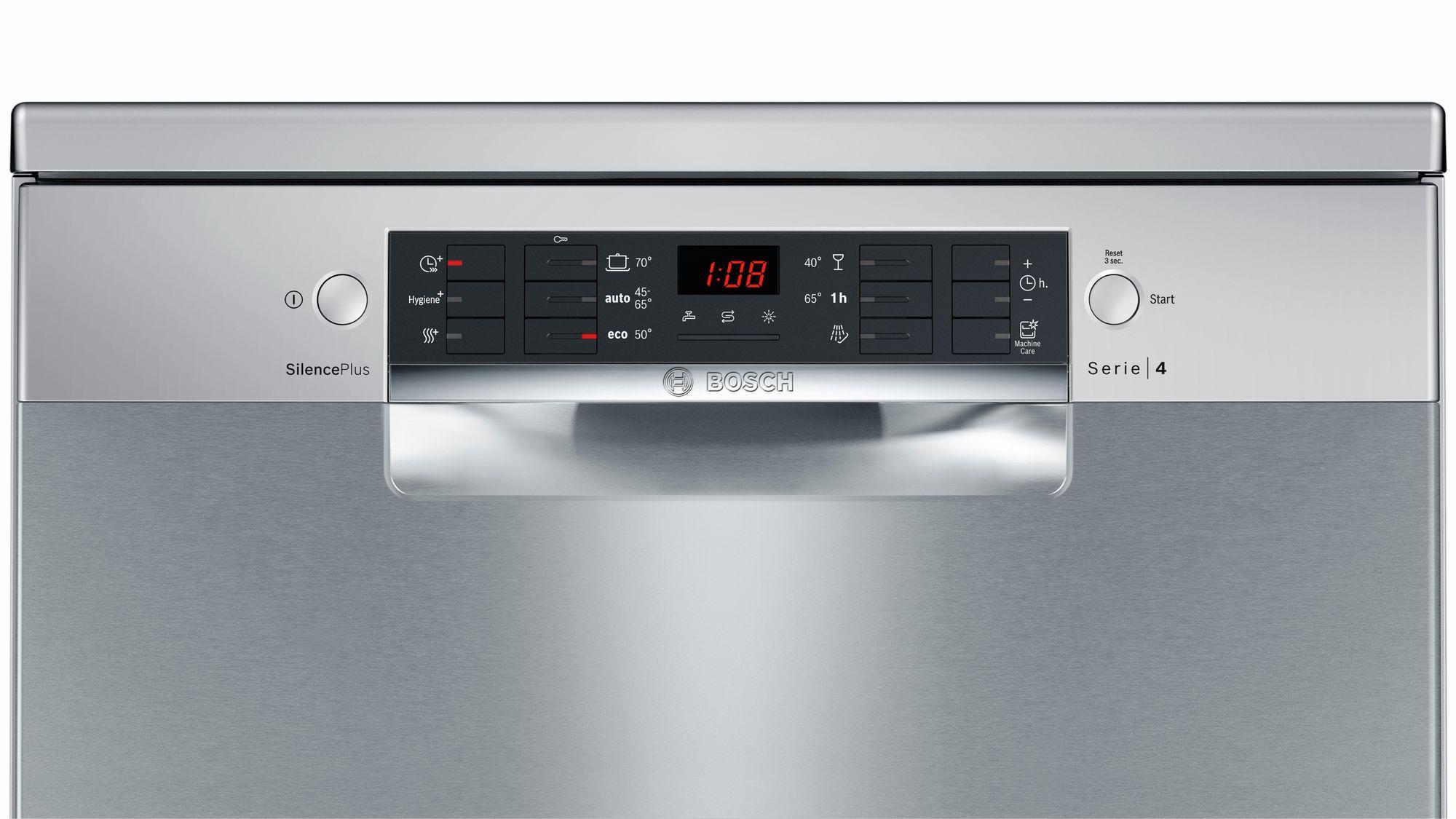 Serie | 4 Silence Plus mašina za pranje sudova, 60 cm samostalna mašina za pranje sudova, Silver inox