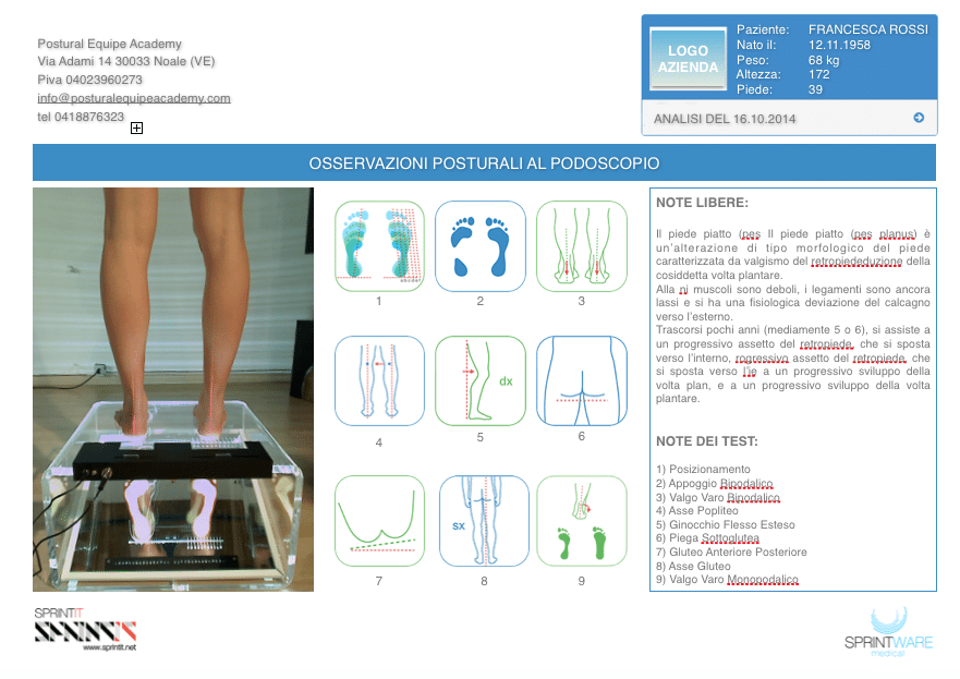 Esempio di report posturale al podoscopio