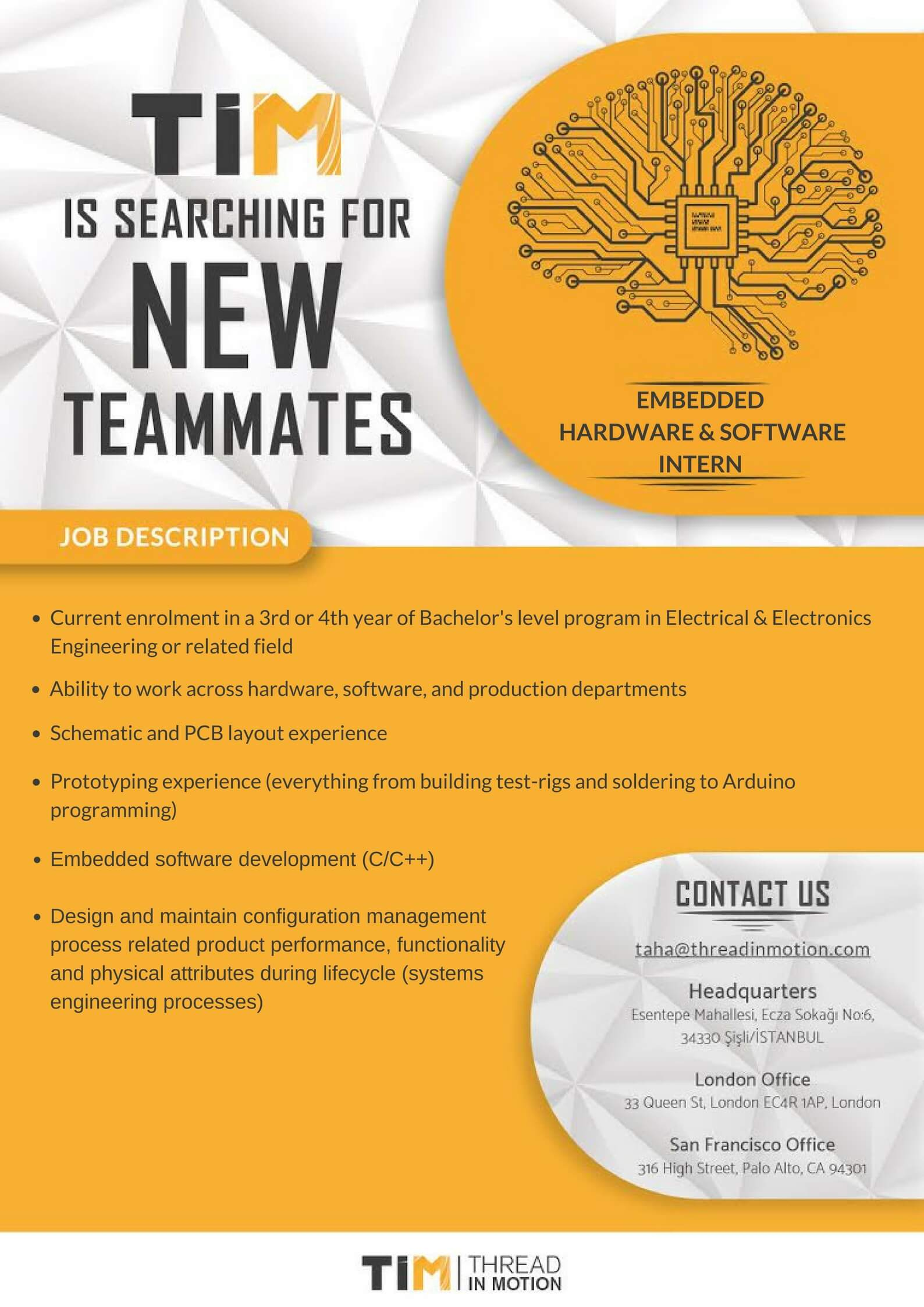 Thread In Motion Embedded Software Hardware Developers New Graduate Long Term Internship Program Youthall