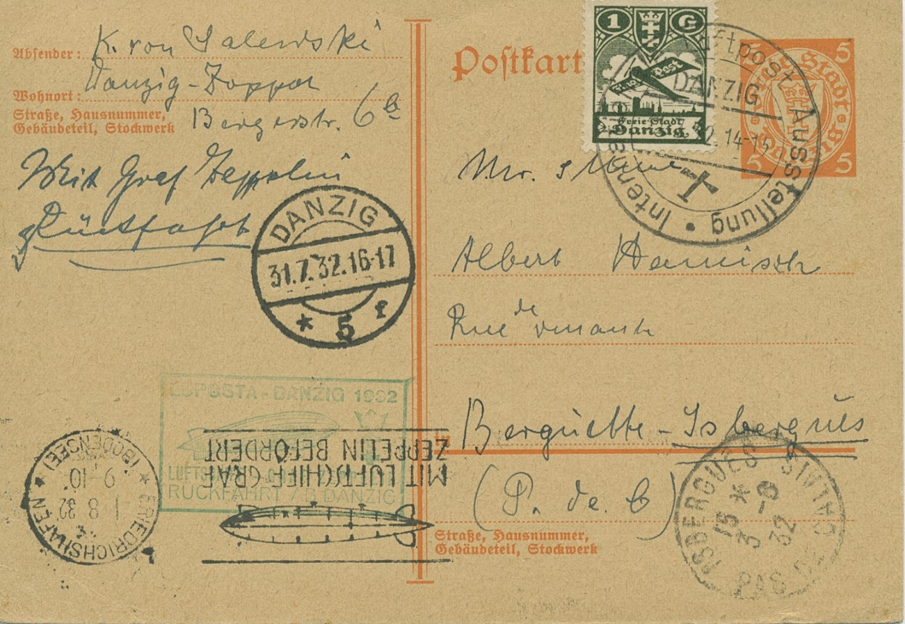 Zeppelin LZ 127 Danzigfahrt LUPOSTA Rückfahrt Karte P 41 n