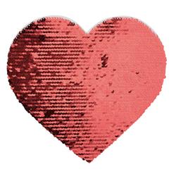 BJLP19 Samolepilni seqin v obliki srca (rdeč/bel)