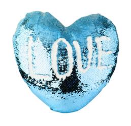 BZLP3944 Blazina s prevleko SEQUIN v obliki srca - svetlo modra