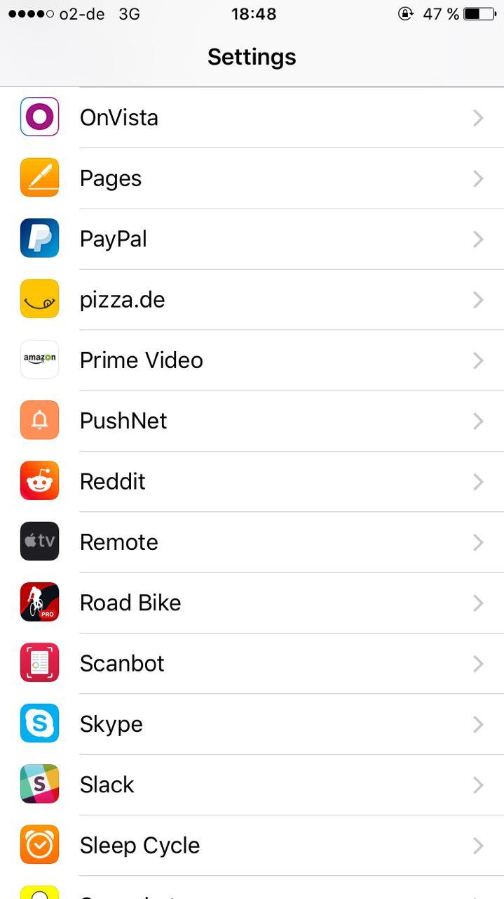 App Einstellungen in iOS