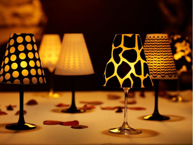 6x Weinglas-Lampenschirm