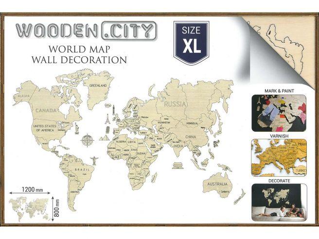 Houten Wereldkaart 120x80cm
