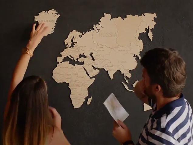 Hölzerne Weltkarte 120x80cm