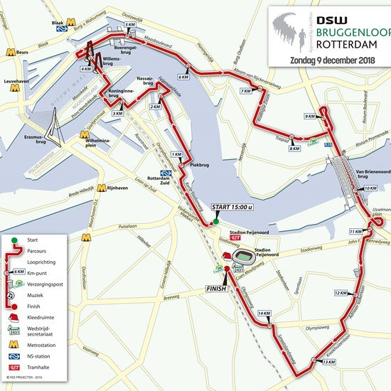 Rotterdam bruggenloop parcours