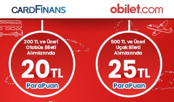 CardFinans'tan obilet.com'da 25 TL'ye Varan ParaPuan Hediye!
