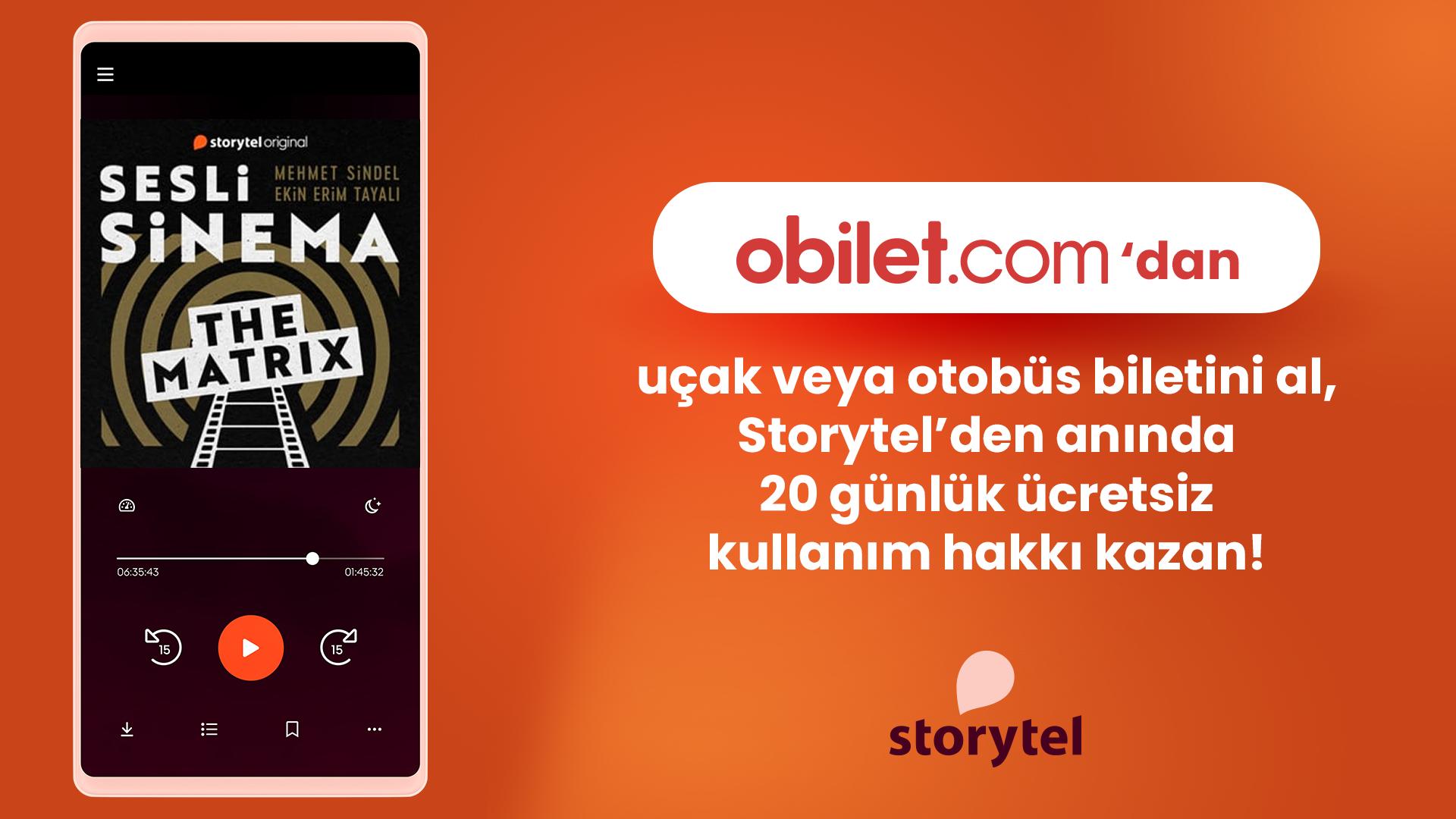 Obilet'ten Bilet Alana 20 Gün Ücretsiz Storytel!