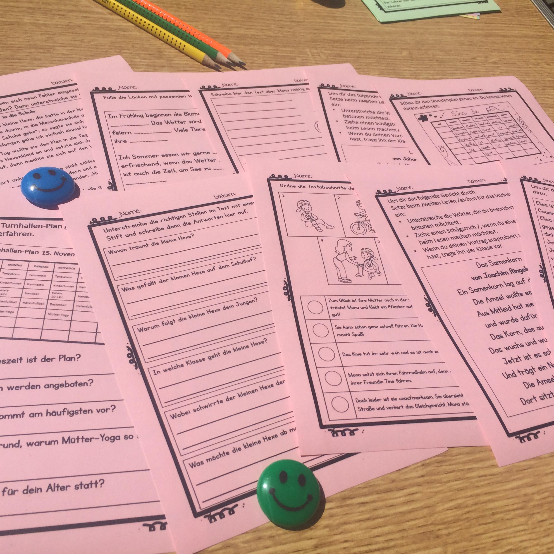 Lesekompetenz in der Grundschule- Arbeitsblätter