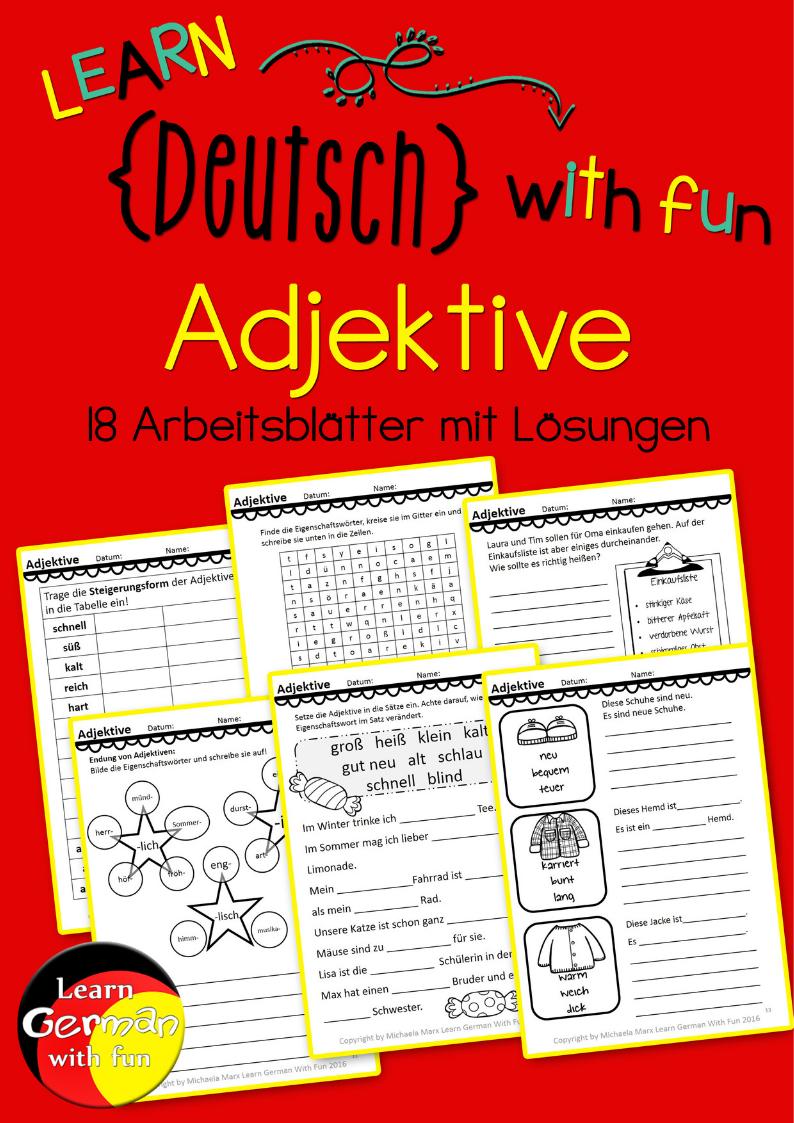 Arbeitsblätter Adjektive