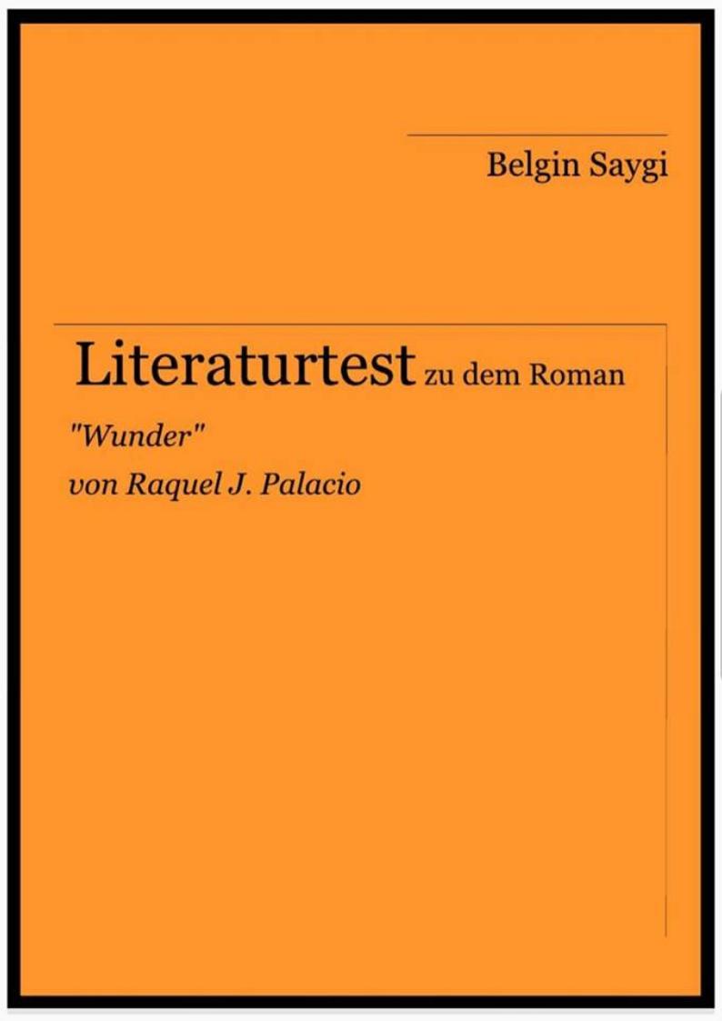 """Literaturtest zum Roman """"Wunder"""""""