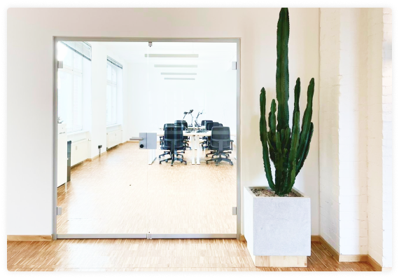 office space with cactus