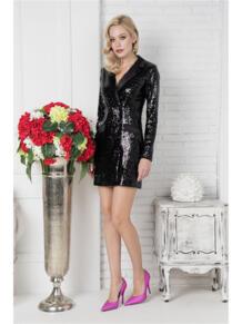 Платье-пиджак из пайеток Self Made 4925334