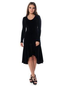 """Платье """"Кармен"""" из черного бархата стрейч SEANNA 4925594"""