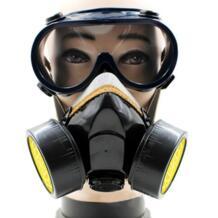 Двойной картридж противопылезащитная маска химическая безопасность покраска газовый фильтр респиратор с очками оборудование для промышленной безопасности-in Химические респираторы from Безопасность и защита on AliExpress LESHP 4000225573643
