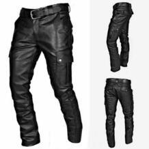 Мужские кожаные брюки в стиле ретро, весенние и летние модные мужские облегающие брюки из искусственной кожи, эластичные мужские мотоциклетные брюки для улицы #4 Кожаные брюки    - AliExpress feitong 4000475425020