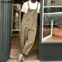 сплошной цвет мужской комбинезон уличная одежда комбинезон 2020 повседневные подтяжки свободные новые модные брюки карго комбинезоны мужские S 5XL Комбинезоны  - AliExpress INCERUN 4000379552715