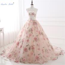 Сапфировое Свадебное бальное платье с цветочным принтом пышные платья Иллюзия плеча органза Vestidos De Debutantes Формальные Вечерние платья Sapphire Bridal 32949166669