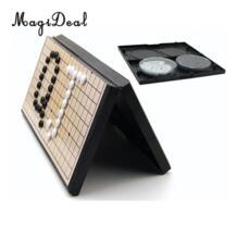 Магнитная Go игры Weiqi шахматы с одной выпуклые магнитные пластик камни детские развивающие игрушки Goban доска шахматы Игра Головоломка игрушка MagiDeal 32911631101