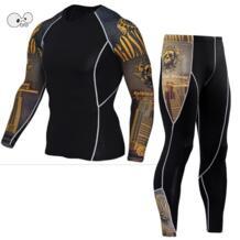 Мужские спортивные комплект для бега компрессионная рубашка + брюки облегающие с длинными рукавами Рашгард для фитнеса MMA тренировочная одежда тренажерный зал Йога костюмы Creeper 32826124853